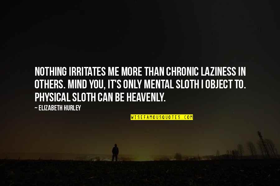 Laziness Sloth Quotes By Elizabeth Hurley: Nothing irritates me more than chronic laziness in