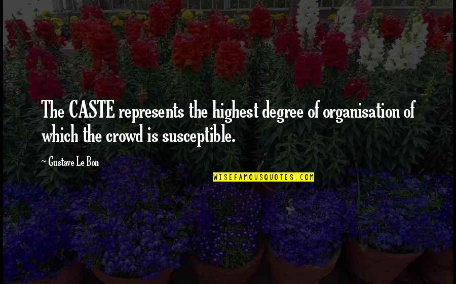 Le Bon Quotes By Gustave Le Bon: The CASTE represents the highest degree of organisation