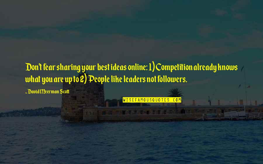 Leaders Versus Followers Quotes By David Meerman Scott: Don't fear sharing your best ideas online: 1)