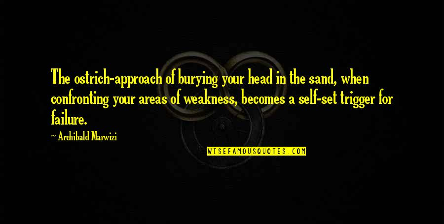 Leadership And Failure Quotes By Archibald Marwizi: The ostrich-approach of burying your head in the