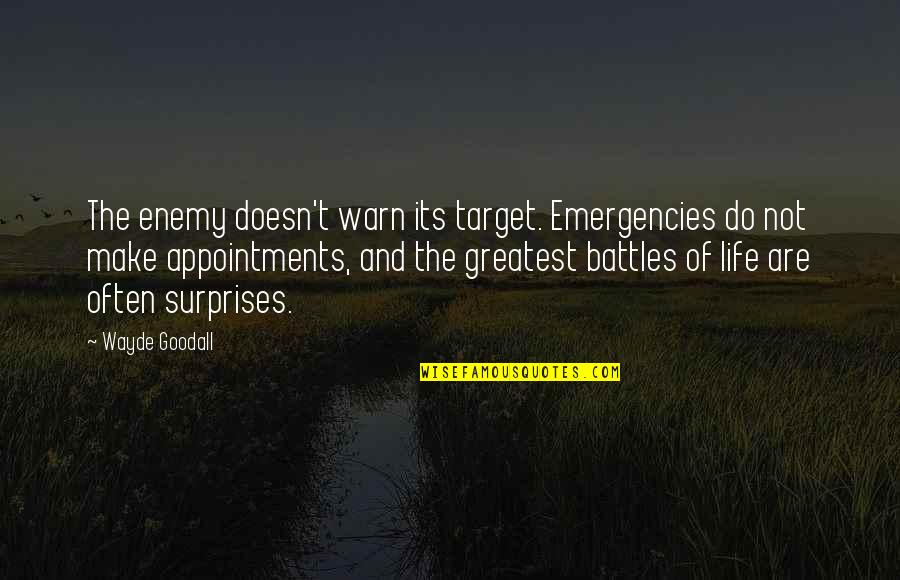 Leadership And Failure Quotes By Wayde Goodall: The enemy doesn't warn its target. Emergencies do