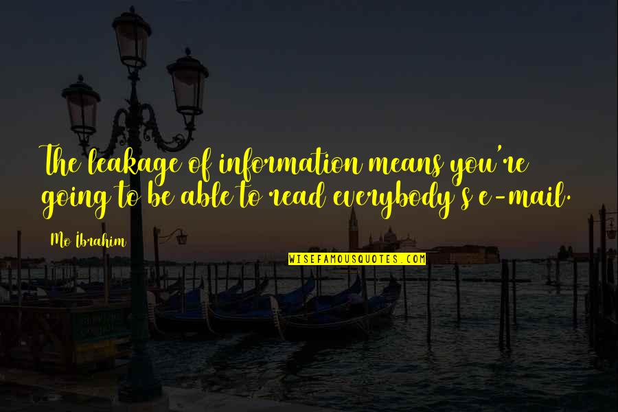 Leakage Quotes By Mo Ibrahim: The leakage of information means you're going to