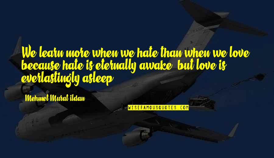 Learn Not To Hate Quotes By Mehmet Murat Ildan: We learn more when we hate than when