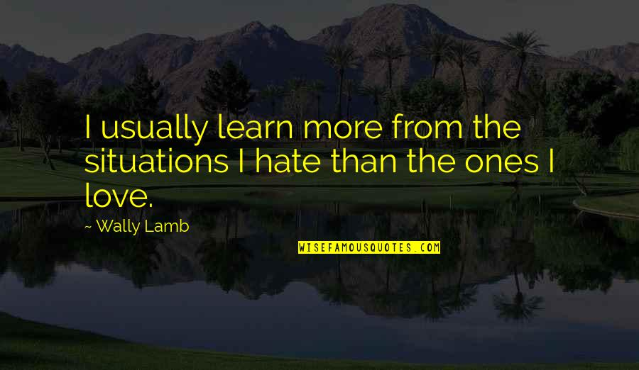 Learn Not To Hate Quotes By Wally Lamb: I usually learn more from the situations I