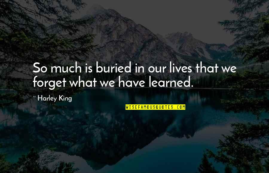 Learned Lessons Quotes By Harley King: So much is buried in our lives that