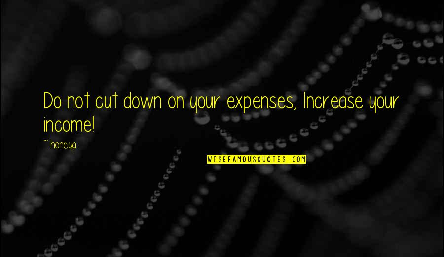 Learned Lessons Quotes By Honeya: Do not cut down on your expenses, Increase
