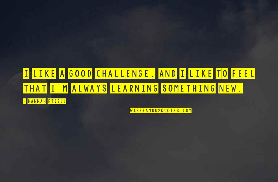 Learning Something New Quotes By Hannah Fidell: I like a good challenge. And I like