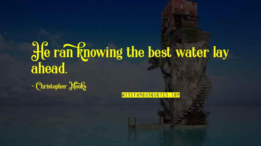 Learning To Get Along Quotes By Christopher Meeks: He ran knowing the best water lay ahead.