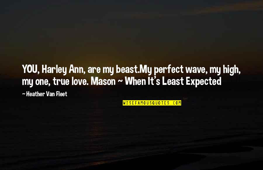 Least Expected Love Quotes By Heather Van Fleet: YOU, Harley Ann, are my beast.My perfect wave,