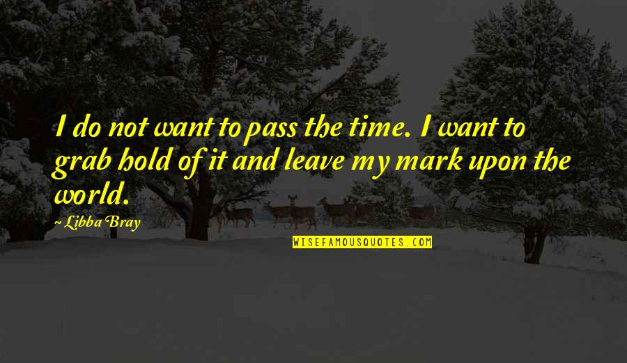 Leave A Mark On The World Quotes By Libba Bray: I do not want to pass the time.