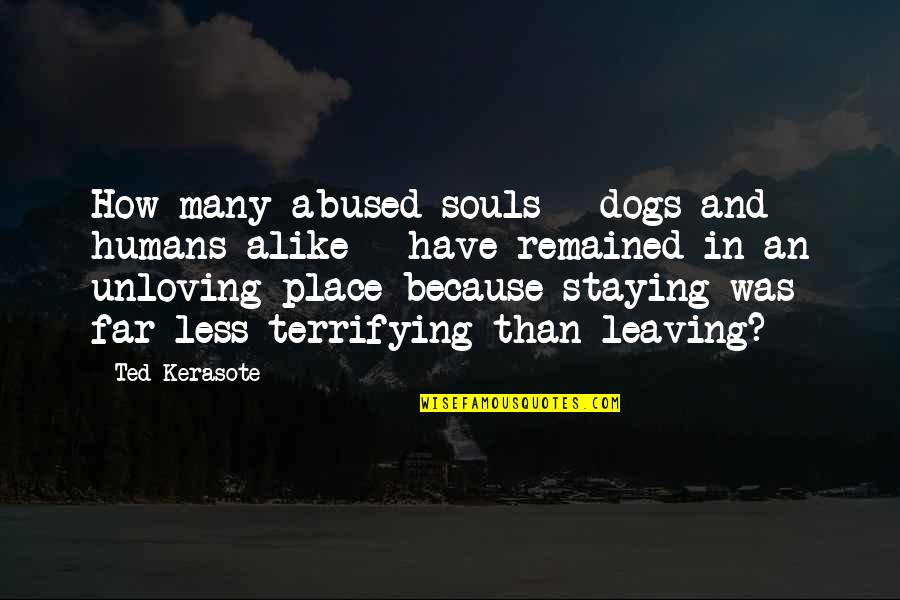 Leaving Or Staying Quotes By Ted Kerasote: How many abused souls - dogs and humans