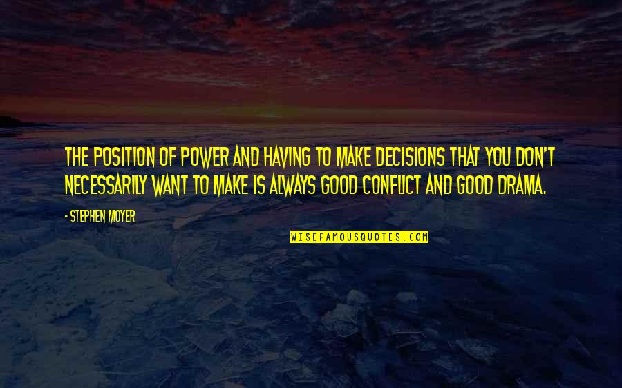 Lee Iacocca Chrysler Quotes By Stephen Moyer: The position of power and having to make