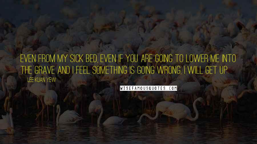 Lee Kuan Yew quotes: Even from my sick bed, even if you are going to lower me into the grave and I feel something is going wrong, I will get up.