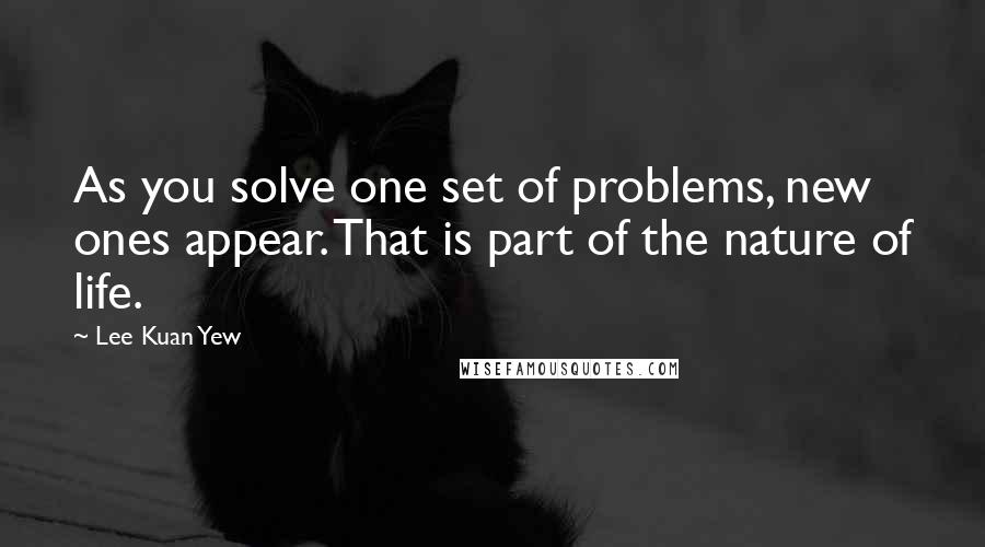Lee Kuan Yew quotes: As you solve one set of problems, new ones appear. That is part of the nature of life.