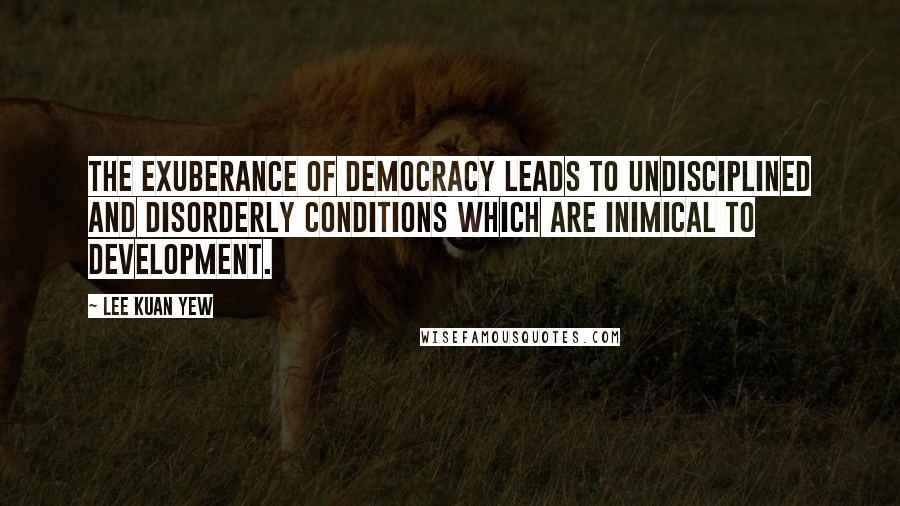 Lee Kuan Yew quotes: The exuberance of democracy leads to undisciplined and disorderly conditions which are inimical to development.