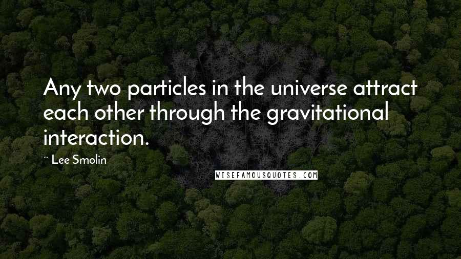 Lee Smolin quotes: Any two particles in the universe attract each other through the gravitational interaction.