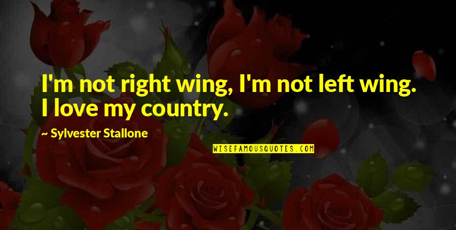Left Wing Right Wing Quotes By Sylvester Stallone: I'm not right wing, I'm not left wing.