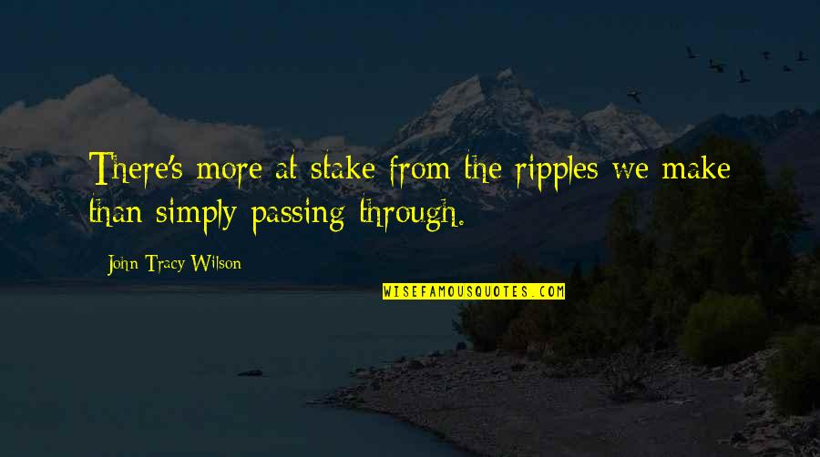 Legacy And Family Quotes By John Tracy Wilson: There's more at stake from the ripples we