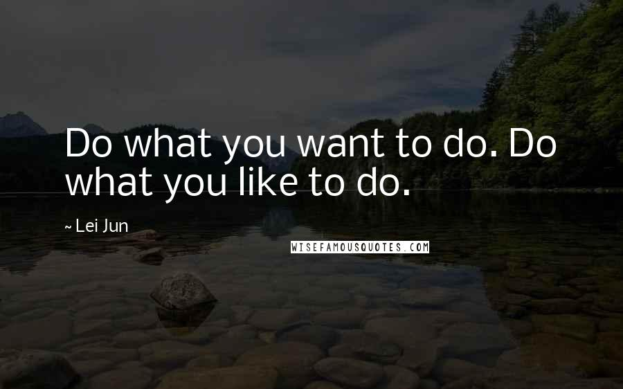 Lei Jun quotes: Do what you want to do. Do what you like to do.
