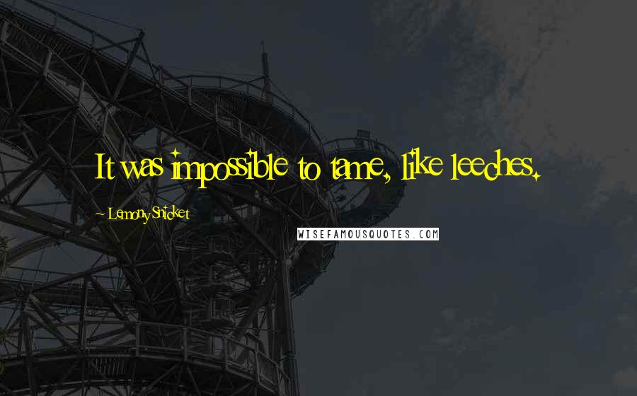 Lemony Snicket quotes: It was impossible to tame, like leeches.