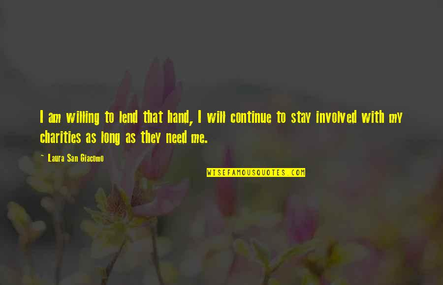 Lend Me Your Hand Quotes By Laura San Giacomo: I am willing to lend that hand, I