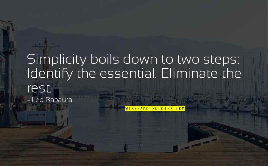 Leo Babauta Quotes By Leo Babauta: Simplicity boils down to two steps: Identify the