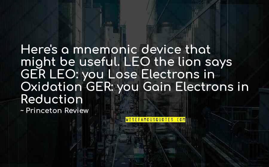 Leo The Lion Quotes By Princeton Review: Here's a mnemonic device that might be useful.
