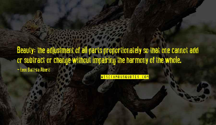 Leon Battista Alberti Quotes By Leon Battista Alberti: Beauty: the adjustment of all parts proportionately so