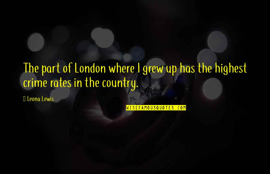 Leona Quotes By Leona Lewis: The part of London where I grew up