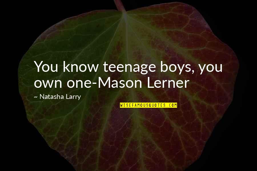 Lerner's Quotes By Natasha Larry: You know teenage boys, you own one-Mason Lerner