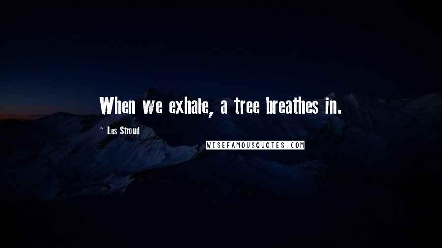 Les Stroud quotes: When we exhale, a tree breathes in.