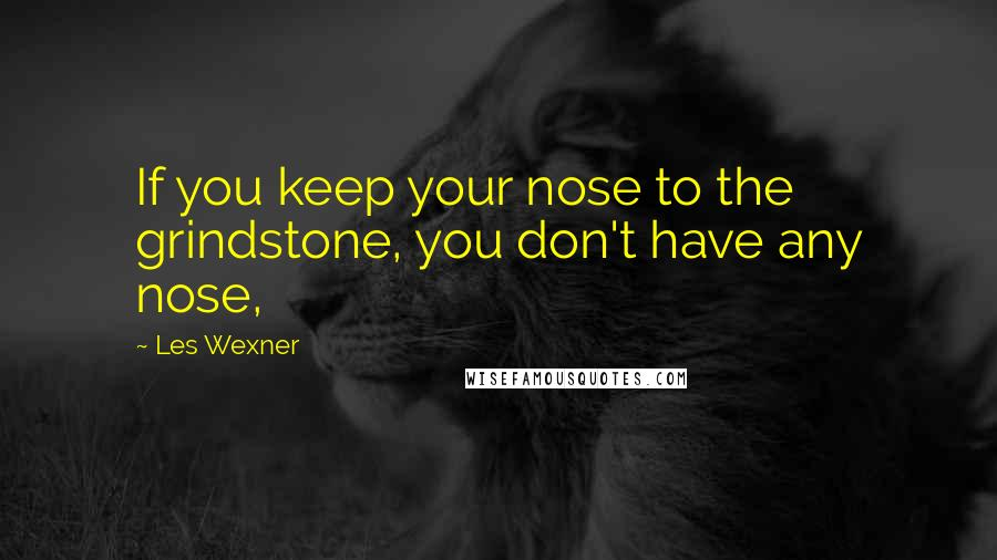Les Wexner quotes: If you keep your nose to the grindstone, you don't have any nose,