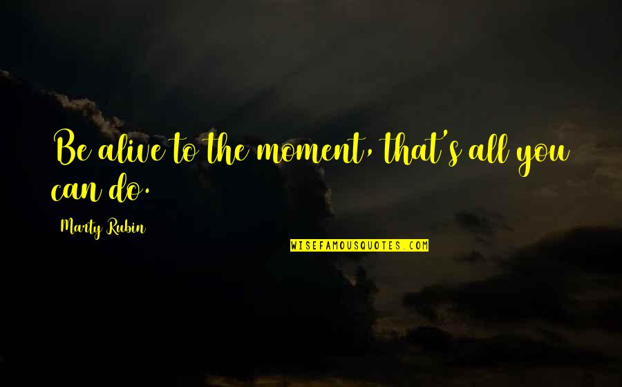 Let Me Down Again Quotes By Marty Rubin: Be alive to the moment, that's all you