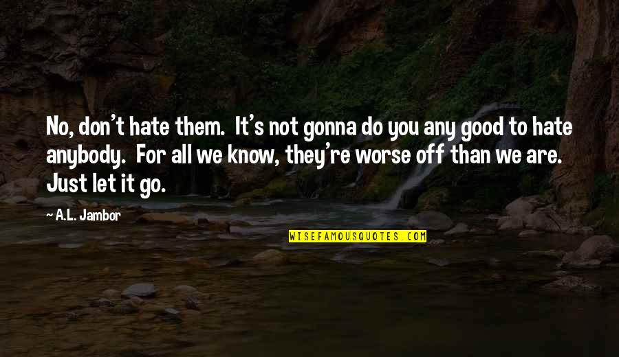Let Them Hate Quotes By A.L. Jambor: No, don't hate them. It's not gonna do