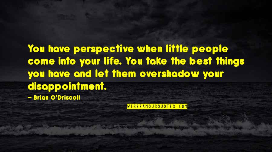 Let Things Come To You Quotes By Brian O'Driscoll: You have perspective when little people come into