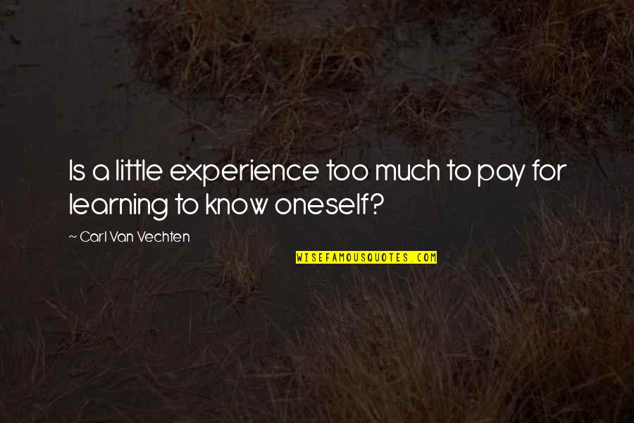 Lett Quotes By Carl Van Vechten: Is a little experience too much to pay