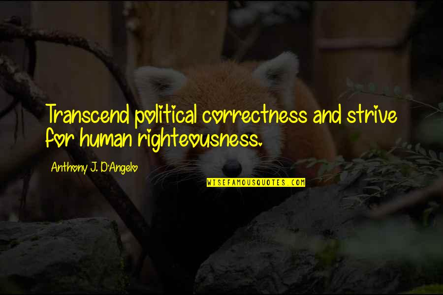 Letting Go And Moving On For The Better Quotes By Anthony J. D'Angelo: Transcend political correctness and strive for human righteousness.