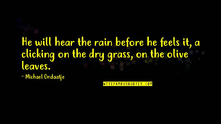 Letting Go Doesn't Mean Quotes By Michael Ondaatje: He will hear the rain before he feels