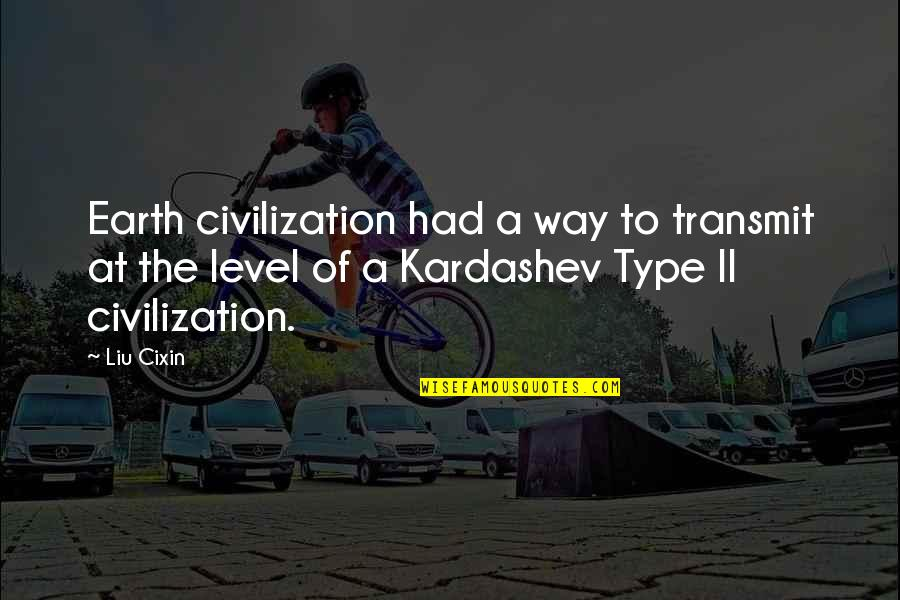 Level 1 2 3 Quotes By Liu Cixin: Earth civilization had a way to transmit at