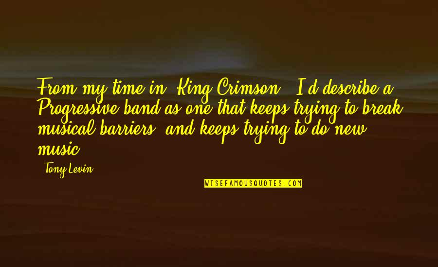 Levin's Quotes By Tony Levin: From my time in 'King Crimson,' I'd describe