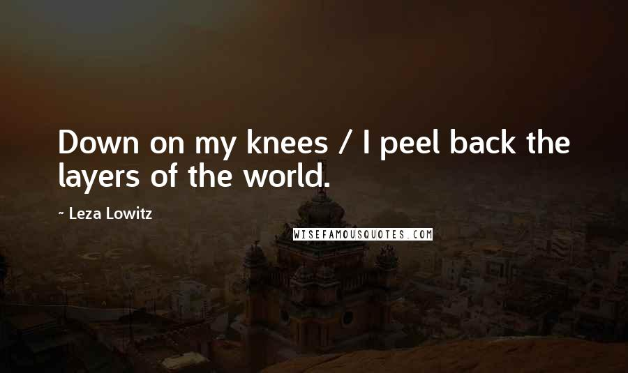Leza Lowitz quotes: Down on my knees / I peel back the layers of the world.