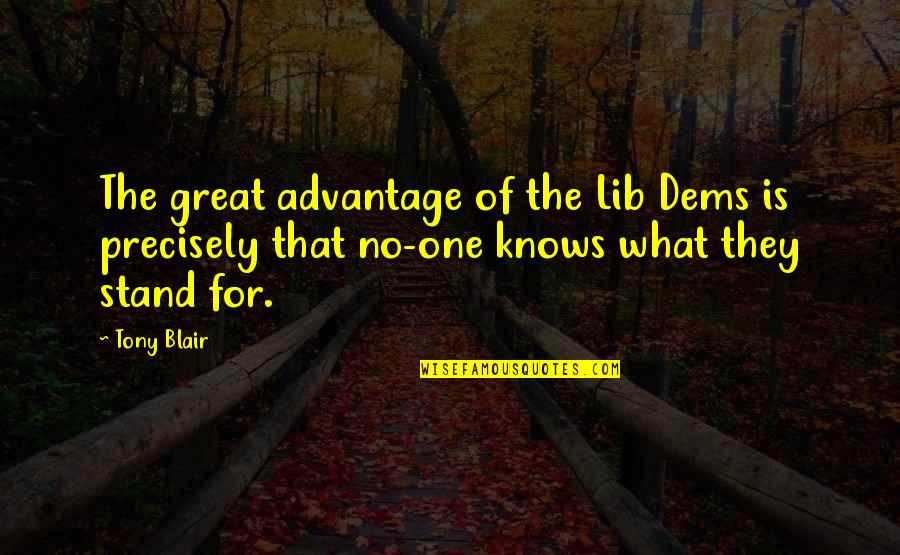Lib Quotes By Tony Blair: The great advantage of the Lib Dems is