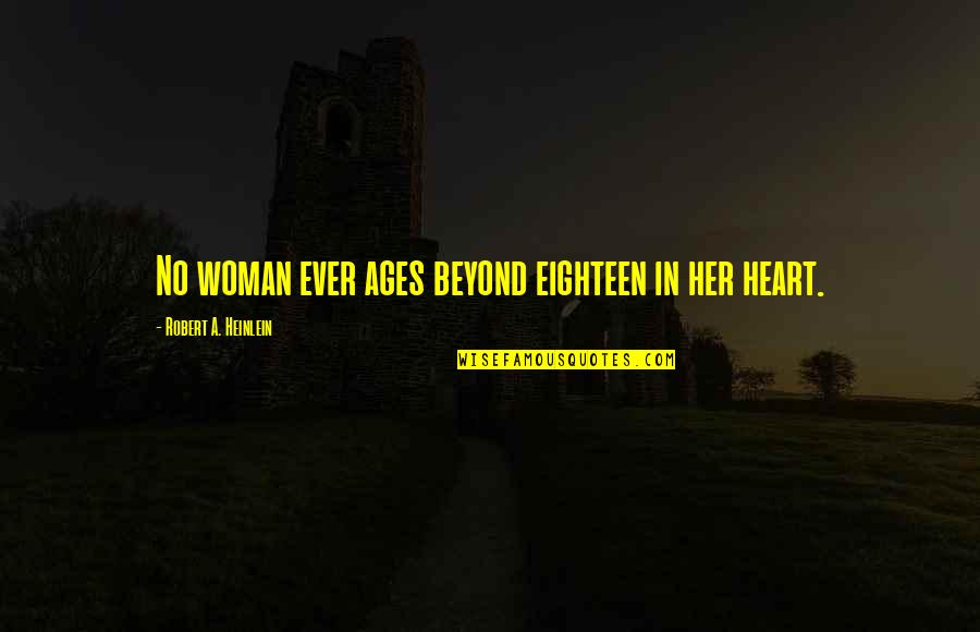 Librae Quotes By Robert A. Heinlein: No woman ever ages beyond eighteen in her