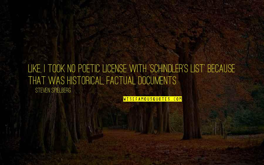 License Quotes By Steven Spielberg: Like, I took no poetic license with 'Schindler's