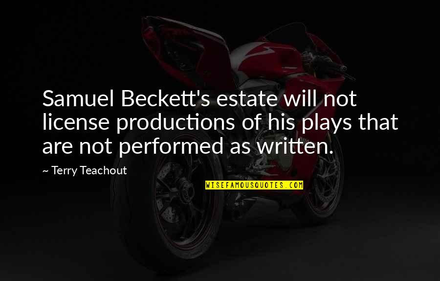 License Quotes By Terry Teachout: Samuel Beckett's estate will not license productions of