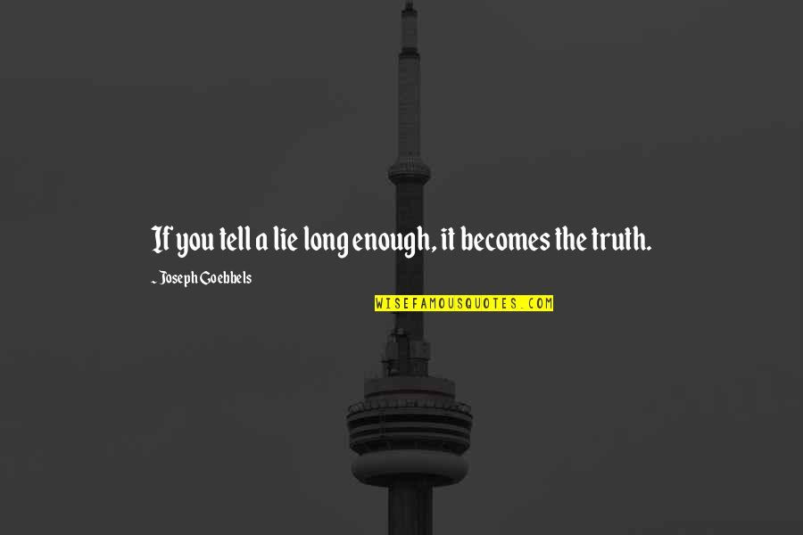Lie Becomes Truth Quotes By Joseph Goebbels: If you tell a lie long enough, it