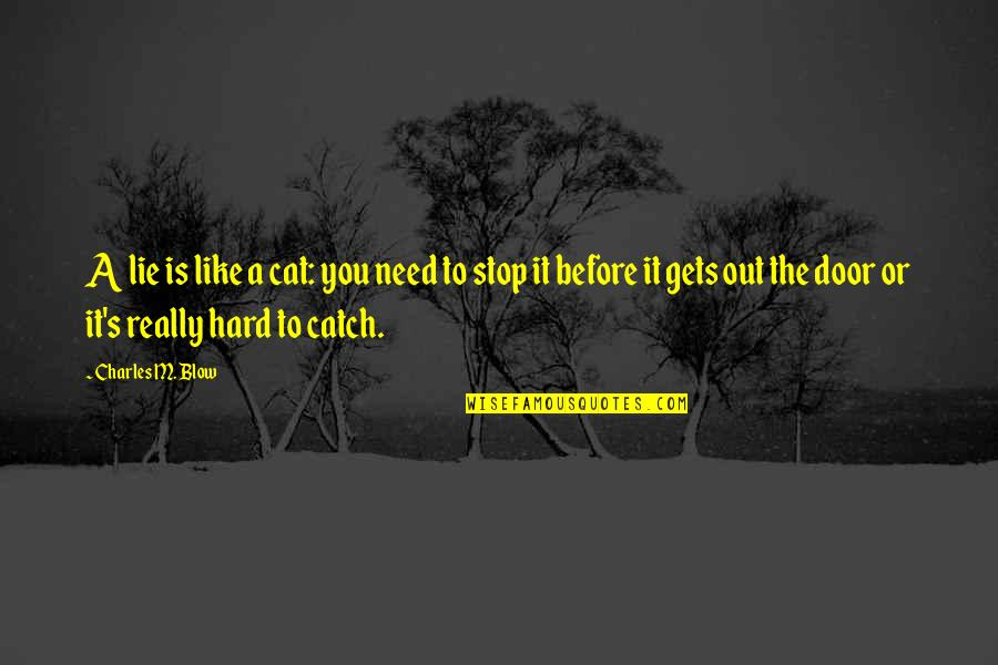 Lies Catch Up To You Quotes By Charles M. Blow: A lie is like a cat: you need