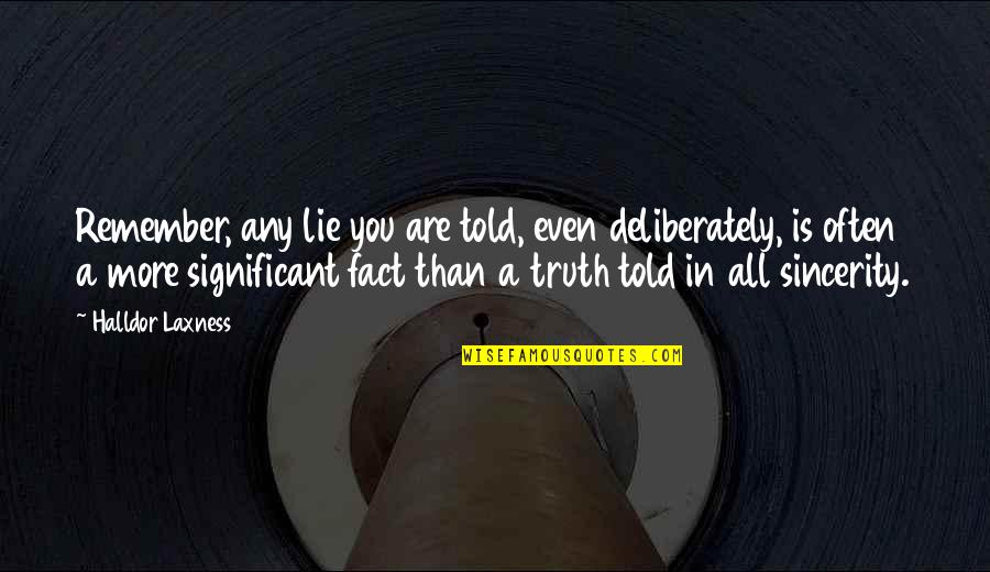 Lies Told Quotes By Halldor Laxness: Remember, any lie you are told, even deliberately,