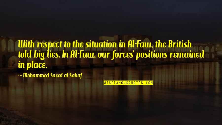 Lies Told Quotes By Mohammed Saeed Al-Sahaf: With respect to the situation in Al-Faw, the