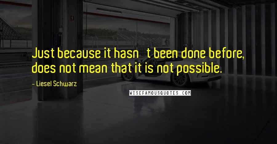 Liesel Schwarz quotes: Just because it hasn't been done before, does not mean that it is not possible.